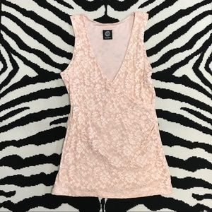 Bobeau Blush Pink Lace Crossover Front Tank Top